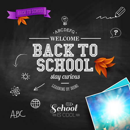 Vintage back to school card. Wooden background, typography design, bright sun image. Vector illustration. Vector