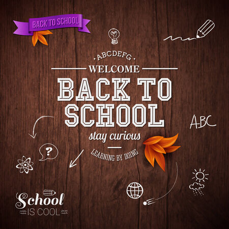 Vintage back to school card. Wooden background, typography design. Vector illustration. Vector