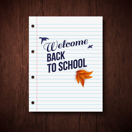 typography vector: Back to school card. Wooden background, typography design. Vector illustration.