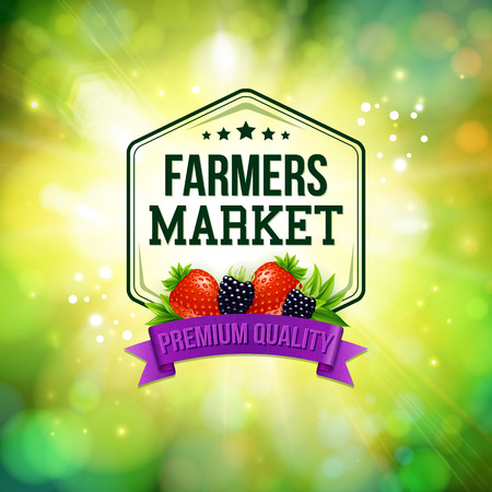 Farmers market poster. Blurred background with shining sun. Typography design. Vector illustration.