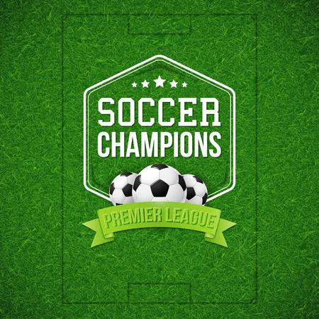 Voetbal voetbal poster. Voetbal voetbal veld achtergrond met typografie ontwerp en voetbal voetbal bal. Vector illustratie. Stock Illustratie