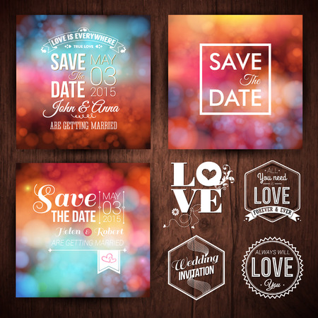 Save the date for personal holiday cards. Wedding invitation set of typography design labels on a wooden background. Vector image. Ilustração