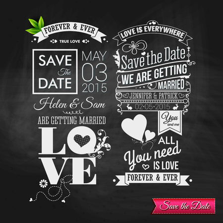 save the date: Save the date for personal holiday. Vintage typography wedding set on chalkboard. Vector image. Illustration