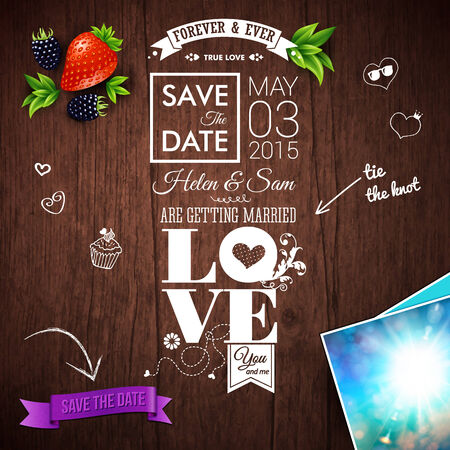 dates fruit: Save the date for personal holiday. Wedding invitation on wooden background. Vector image.