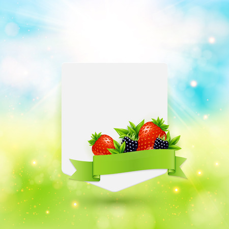 Paper note with ribbon, berries and leaves on bright summer background. Vector illustration. Illustration