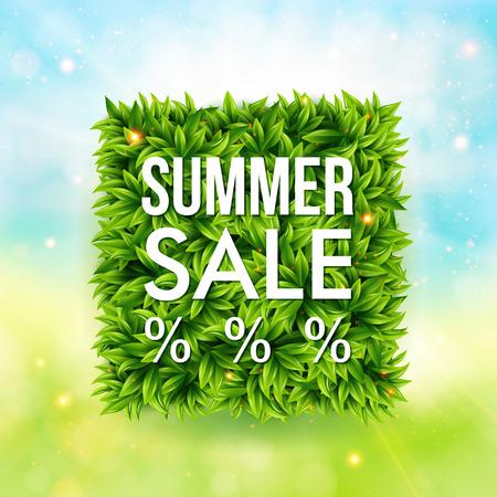 banner effect: Summer sale advertisement poster. Blurred background with bokeh effect. Square shape made of leaves. Vector illustration. Illustration