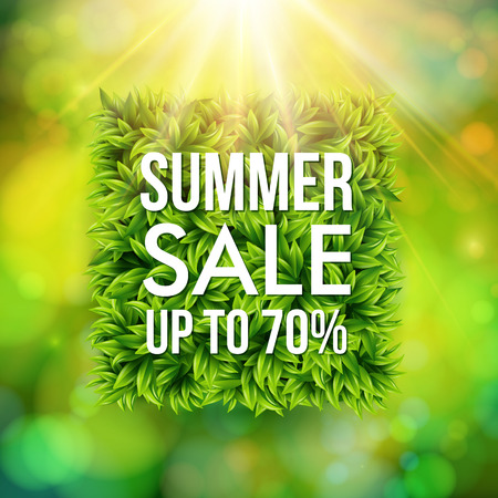 Summer sale advertisement poster. Blurred background with bokeh effect. Square shape made of leaves. Vector illustration. Illustration