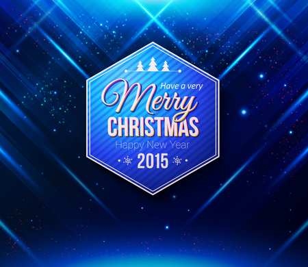 Blue Christmas card. Abstract striped background with light effects. Vector image. Illustration