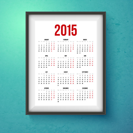 2015 year calender. Realistic photo frame on the wall. Vector illustration. Vector
