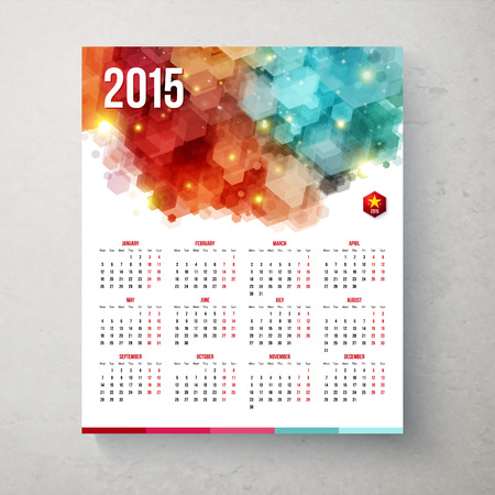2015 year calender. Hexagon pattern background. Vector illustration. Vector