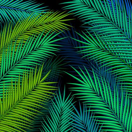 feuillage: Tropical background avec des feuilles de palmier. Vector illustration.