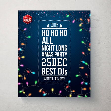 Merry Christmas and Happy new year party poster. Dark blue background with realistic garland. Vector illustration.