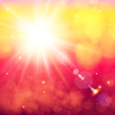 defocus: Bright shining sun with lens flare. Soft background with bokeh effect. Vector illustration. Illustration