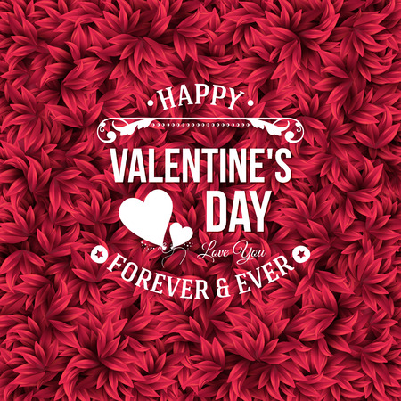 red leaves: Valentine`s day typography design. Background with red leaves. Vector illustration.