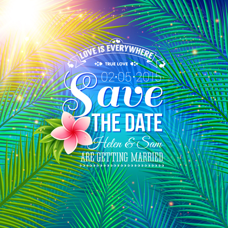 date palm: Attractive Save the Date Concept for Wedding with Nature Style, Emphasizing Palm Leaves Illuminated by Sunlight. Illustration