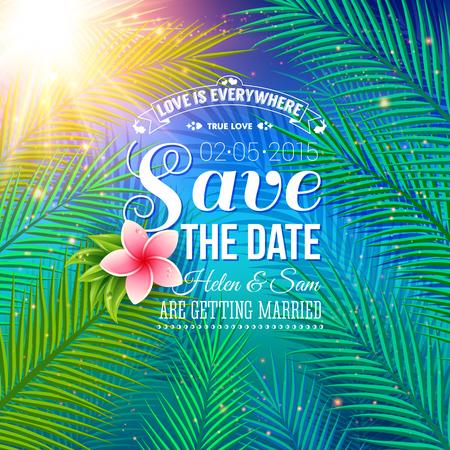 dattelpalme: Attraktive Save the Date Konzept f�r Hochzeit mit Nature Style, betonend Palmbl�tter mit Sonnenlicht Beleuchtet.