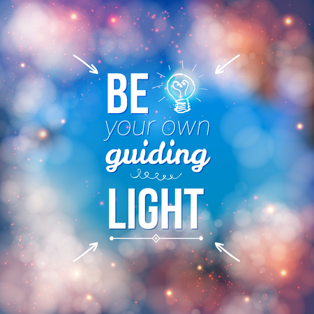 owning: Be Your Own Guiding Light in White Texts with Bulb Design on Abstract Background. Illustration