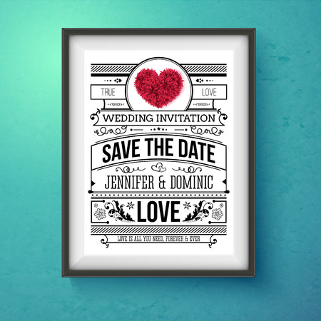 romantic date: Artistic Wedding Invitation Concept Design on Frame Hanging on Blue Green Wall. Emphasizing Save the Date Texts. Illustration
