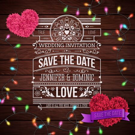 emphasizing: Artistic Wedding Invitation Design on Wooden Background with Furry Heart Shapes and Series Lights Design. Emphasizing Save the Date Texts. Illustration