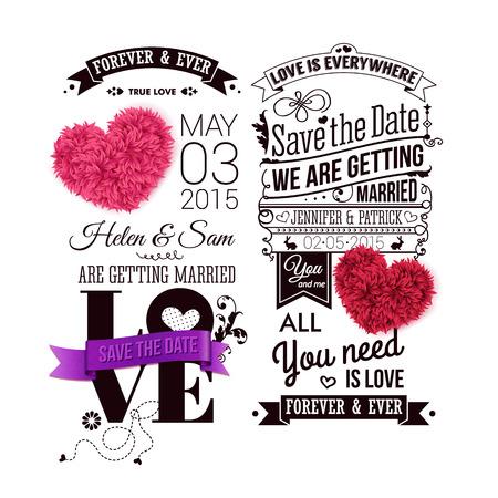 Sparen de datum voor uw persoonlijke vakantie. Typografie ontwerp en decoratieve harten gemaakt van bladeren. Vector illustratie.