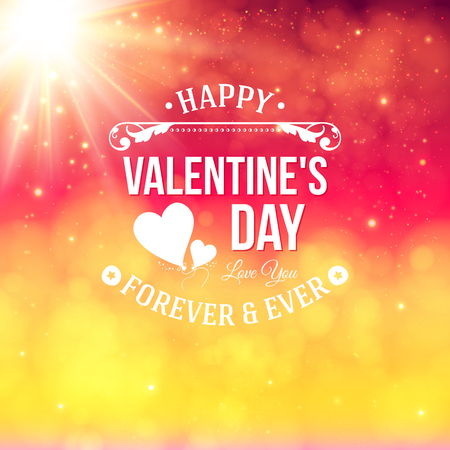 Typography label with bokeh background and bright shining sun. Valentine card for Your design. Vector illustration. Vector