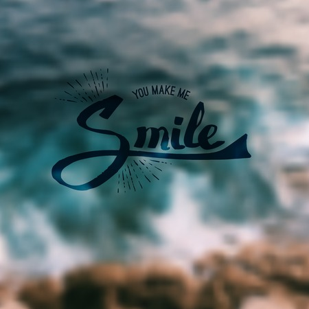 uplifting: Inspirational message - You Make Me Smile - in flowing script over an abstract blurred green background in square format suitable for a card, vector illustration Illustration