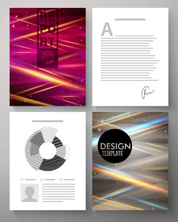 intersecting: Vector corporate design template for a business report with two pages with colorful abstract patterns with beams of intersecting light and two with editable text and analytical charts