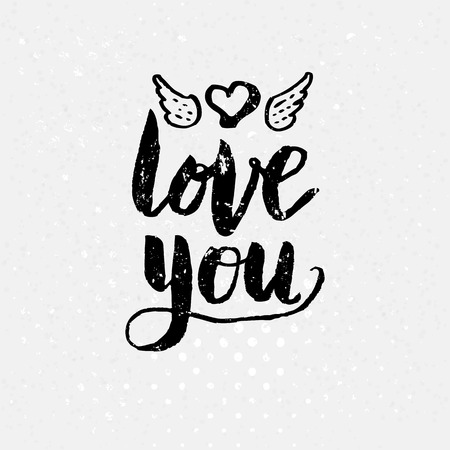 courting: Love Concept - Simple Black and White Love You Text on White Background, Emphasizing Heart with Wings