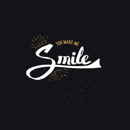 Conceptuele Geel en Wit U Make Me Smile Teksten Abstracte zwarte achtergrond. Stock Illustratie