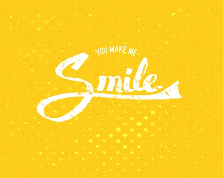 uplifting: Conceptual Simple You Make Me Smile Texts in White Color on Abstract Yellow Background.