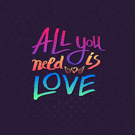 all: All You Need Is Love card design with colorful text in the colors of the rainbow over a textured blue background with a pattern of dots in square format, vector illustration