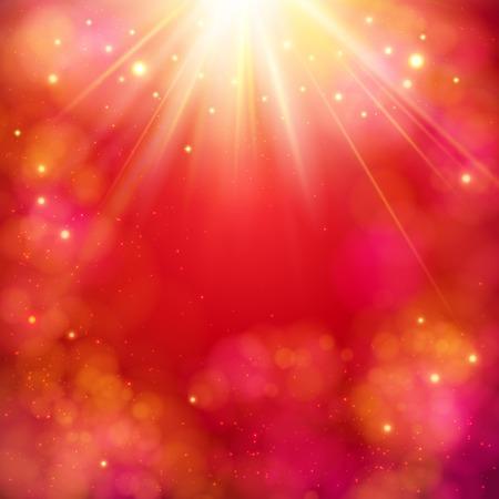 rojo: Abstracto dinámico fondo rojo con una explosión de la estrella brillante o rayos de sol con rayos de luz y copyspace, formato cuadrado ilustración vectorial