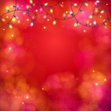 twirled: Vibrant red abstract party background with a garland of multicolored lights in a twirled pattern at the top with copyspace for your text below, vector illustration on square format Illustration