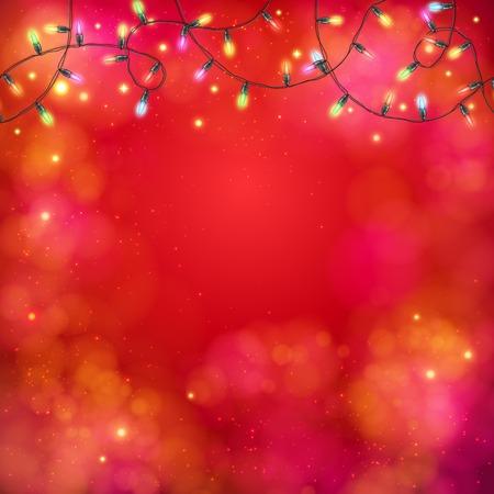 twirled: Vibrant sfondo rosso partito astratto con una ghirlanda di luci multicolori in un modello girava in alto con copyspace per il testo qui sotto, illustrazione vettoriale su formato quadrato