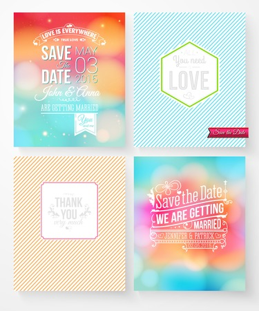 aside: Set of colorful abstract vector wedding invitations with various Save the Date texts and card designs for thankyou notes and You Need Love on striped backgrounds