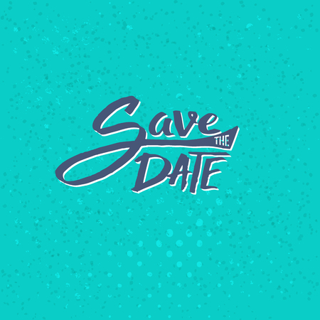 event planning: Conceptual Simple Save the Date Text Design on Abstract Blue Green Background