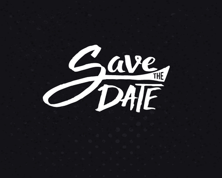 important date: Conceptual White Save the Date Text Design on Abstract Black Background.
