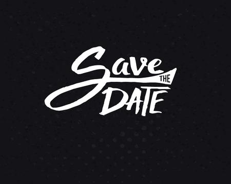 Konzeptionelle Weiss retten das Datum Text Design auf Abstrakt Schwarzer Hintergrund.
