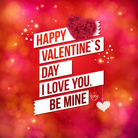 be mine: Greeting card design for Valentines Day in square format over a sparkling blurred red toned background with hearts and banners reading - Happy Valentines Day - I Love You - Be Mine