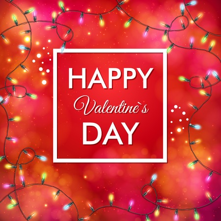 enclosing: Festive red Valentines Day vector card design in square format with a central frame enclosing - Happy Valentines Day - in white with a border of swirling party lights