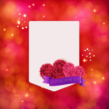 cartouche: Valentines Day vector card design on an abstract red toned background with sparkle and a blank white frame or cartouche decorated with pink flowers and a purple banner saying Happy Valentines Day