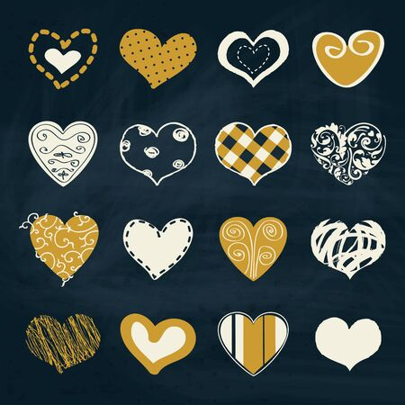 sentimental: Artistic collection of vector hearts in assorted designs with doodles, intricate calligraphic design, patterns and freehand in white and gold on a blue background symbolic of love and Valentines Day Illustration