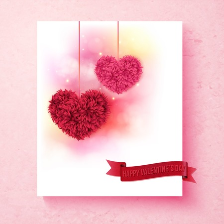 sentimental: Sentimental Valentine card design with colorful pink and red hearts formed of flower petals on a shaded white background with a pink border and red banner reading - Happy Valentines Day