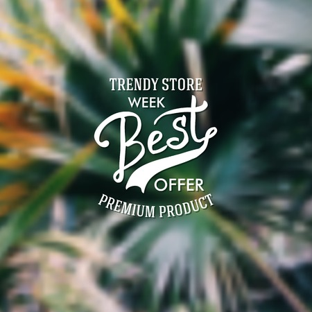 Trendy Store marketing poster offering premium product merchandise with flowing text over an abstract green background, vector illustration