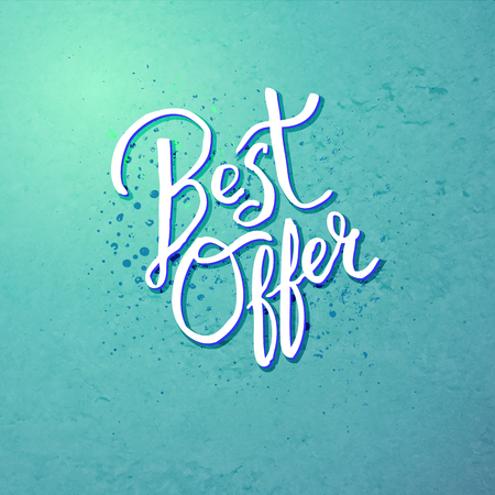 giveaway: Conceptual Best Offer Text Design on Blue Green Background with Dots. Illustration