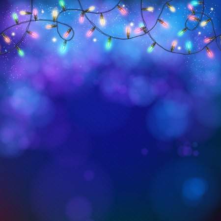 twirling: Blue party background with a twirling garland of glowing colorful party lights and bokeh in square format for your greeting card or advertising, vector design