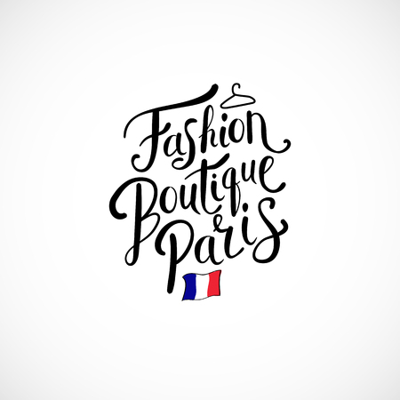 boutiques: Simple Text Design for Fashion Boutique Paris Concept with Small French Flag. Isolated on White Background.