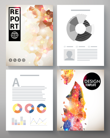 Creative colorful modern vector template for an corporate report with abstract multicolored decorative patterns, editable text copy space and analytical circle and bar graphs Vector