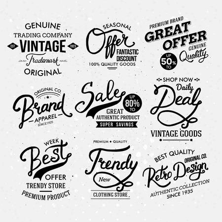 emphasising: Varie etichette in bianco e nero Moda Artistica, sottolineando stili diversi. Vettoriali