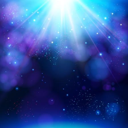 Sprankelende blauwe feestelijke ster barsten achtergrond met een dynamische helder wit explosie van stralen van licht over een fonkelende bokeh met copyspace voor uw groet of tekst, vector illustratie